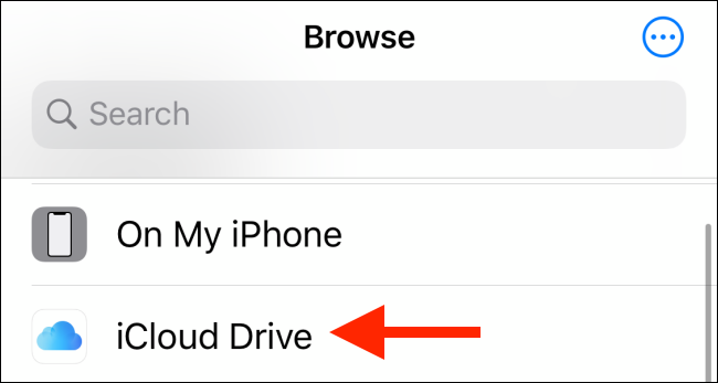 Choose iCloud Drive from locations