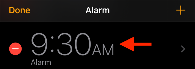 Choose the alarm you want to edit
