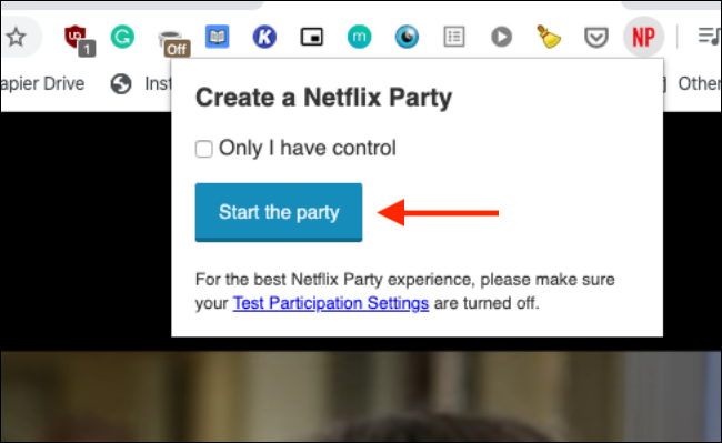 """Click """"Start the Party."""""""