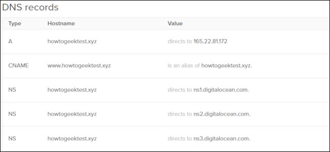A grid of DNS records from DigitalOcean.