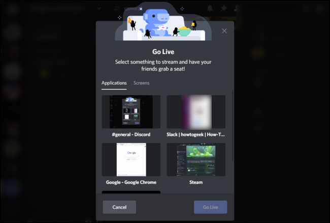 Discord Go Live Screen Select