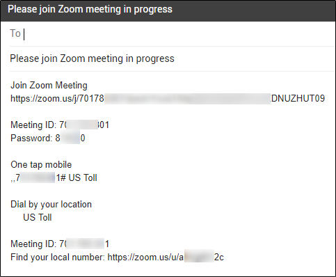 Email content for requesting someone to join a meeting