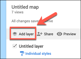Press Add Layer to add a custom layer to a custom Google Maps map