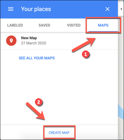 Click Create Map to begin creating a custom Google Maps map