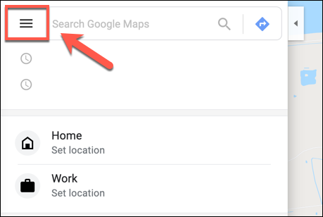 Click the Hamburger Menu Icon in Google Maps