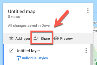 Press Share to share your custom Google Maps map