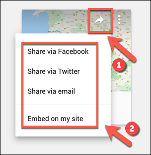 The social sharing options for a custom Google Maps map