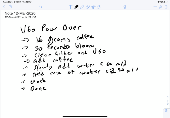 Handwritten note in Notability