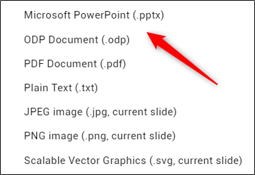 Microsoft PowerPoint conversion option