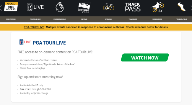The NBC Sports Gold Free Access website.