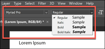 Select an emphasis option from the drop-down menu.