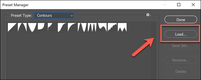 In the Photoshop Preset Manager window, press the Load button