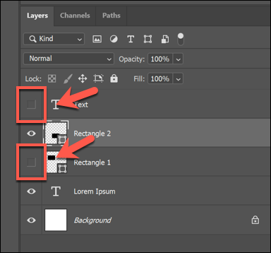Press the square icon next to a hidden layer to make it visible in Photoshop