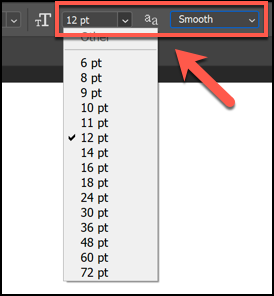 Click the arrow next to the small and large T icon to change the text size, and click the arrow next to the double-A icon to change how crisp or smooth your text should be.