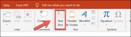 "Press Insert > Text Box to add a text box in PowerPoint"" width=""526″ height=""150″></p> <p>Next, draw your text box using your mouse or trackpad—place this under your image or in a suitable position close by to it.</p> <p>Once the text box is created, you can add the citation.</p> <p><img loading="