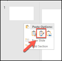 "To keep the original theme applied to your pasted slides, press the ""Keep Source Formatting"" paste option"