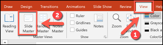 Click View > Slide Master to enter the slide master editing view