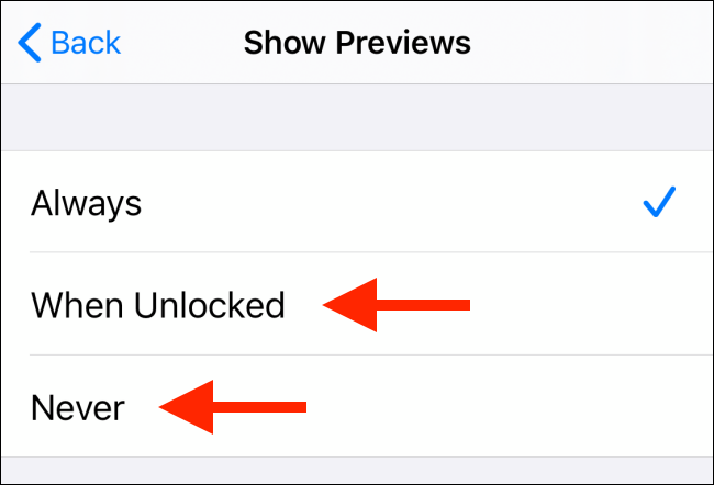 Select When Unlocked or Never option
