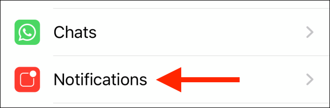 Tap on Notifications option from WhatsApp