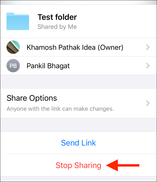 Tap on Stop Sharing