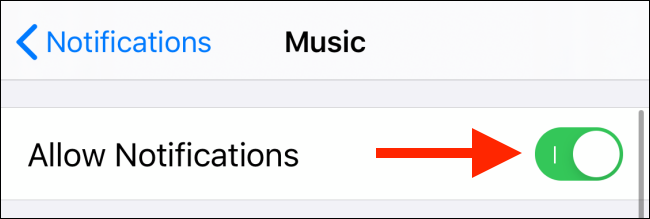 Tap on toggle next to Allow Notifications