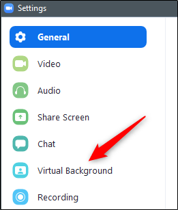 Virtual background option in the left pane