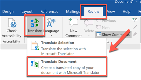 "Press Review > Translate > Translate Document to translate an entire Word document"" width=""461″ height=""262″></p> <p>The ""Translator"" options menu will appear on the right-hand side, where Word will automatically try to determine the language used in your document. If you'd prefer to set this yourself, change the ""From"" option from ""Auto-detect""  to a language of your choice.</p> <p>Press the ""To"" drop-down menu and select a language to translate your document to and then click ""Translate"" to translate your document.</p> <p><img loading="