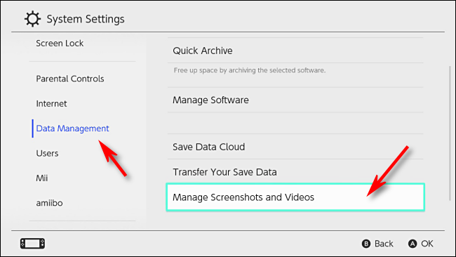 Selec Manage Screenshots and Videos in Nintendo Switch settings