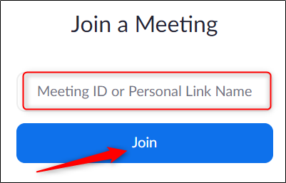enter meeting id on web browser