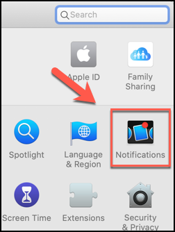 Click Notifications in the System Preferences application.