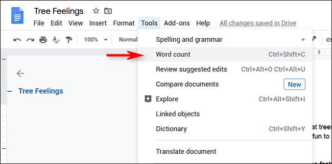 "Click Tools > Word Count in Google Docs"" width=""650″ height=""322″></p> <p>A menu will pop up on the screen that displays word count statistics. Click on the checkbox next to ""Display word count while typing.""</p> <p><img loading="