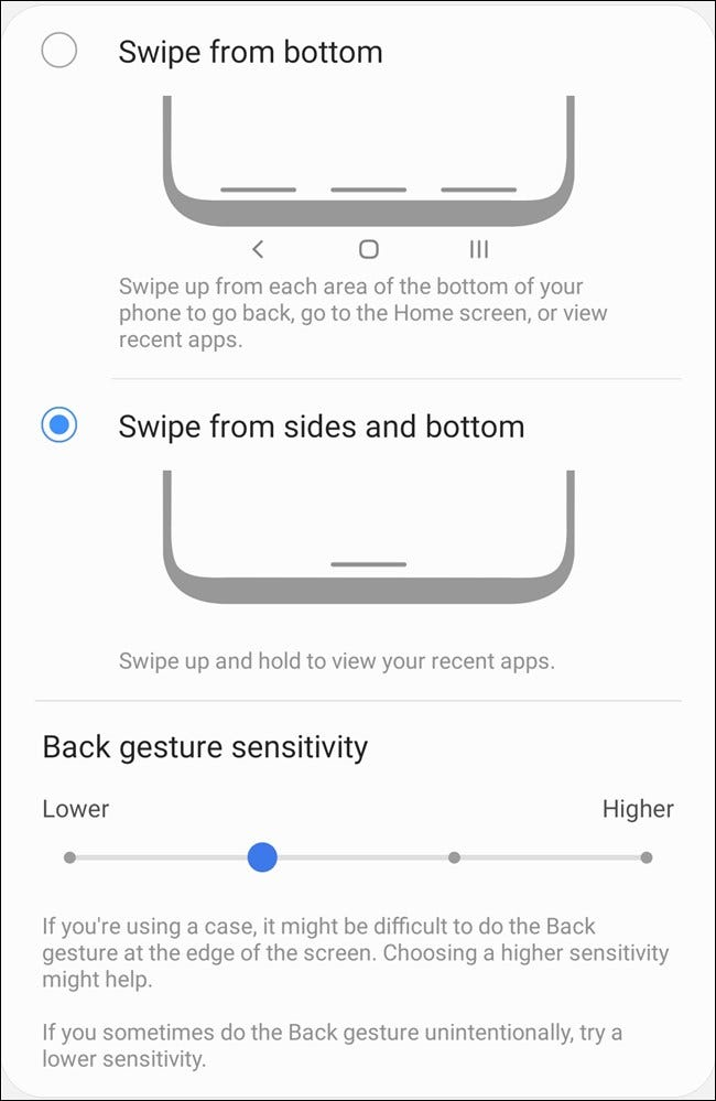 Samsung Galaxy S20 Select Gesture Types and Custom Settings