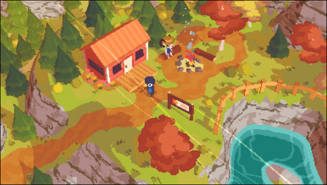 "Characters standing next to a campfire in front of a cabin in ""A Short Hike."""