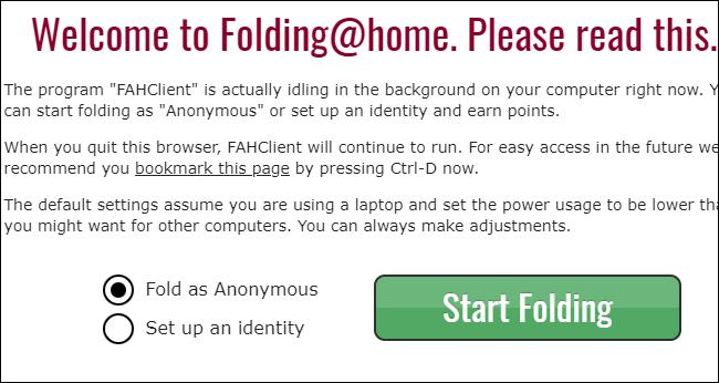 Choice of anonymous or identity in Folding@home