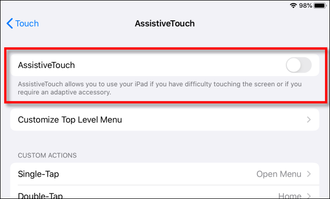 Turn on AssisitiveTouch