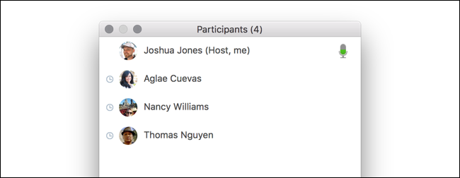 Zoom participants list showing attention tracking on a Mac.