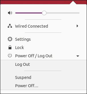 Ubuntu 20.04 System Menu, expanded