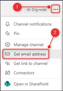 """Las opciones de canal con """"Obtener dirección de correo electrónico"""" resaltadas."""
