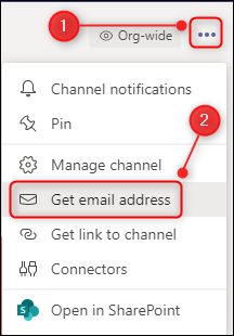 """The channel options with """"Get email address"""" highlighted."""