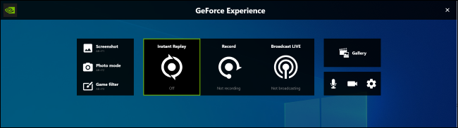 GeForce Experience overlay on Windows 10