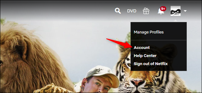Opening Netflix account settings