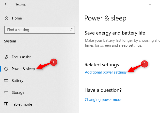 Opening additional power settings from Windows 10's Settings app