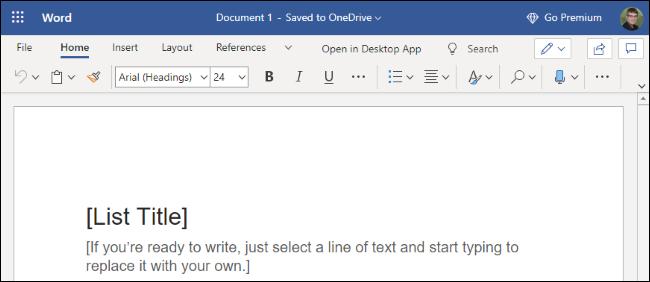 Microsoft Word on the web