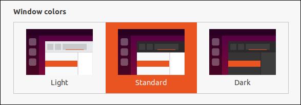 Ubuntu 20.04 theme selection options in the Settings dialog