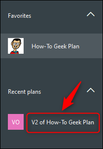 The copied plan displayed in the sidebar.