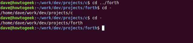 """The """"cd ../forth,"""" """"cd -,"""" and """"cd -"""" commands in a terminal window."""