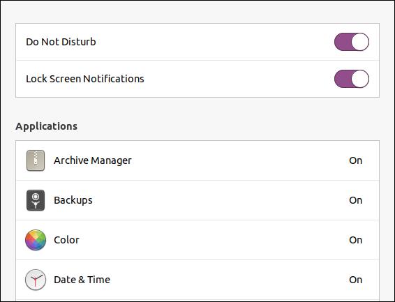 Ubuntu 20.04 lock screen notifications setting