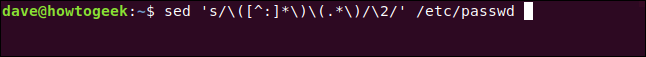 "The ""sed 's/\([^:]*\)\(.*\)/\2/' /etc/passwd"" command in a terminal window."