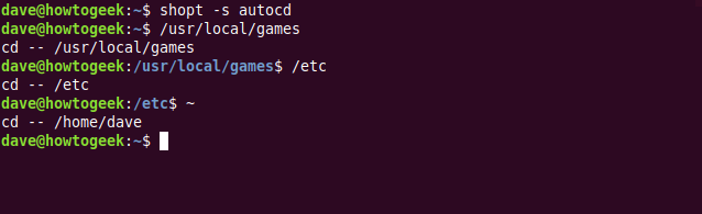 """The """"shopt -s autcd,"""" """"/usr/local/games,"""" """"/etc,"""" and """"~"""" commands in a terminal window."""