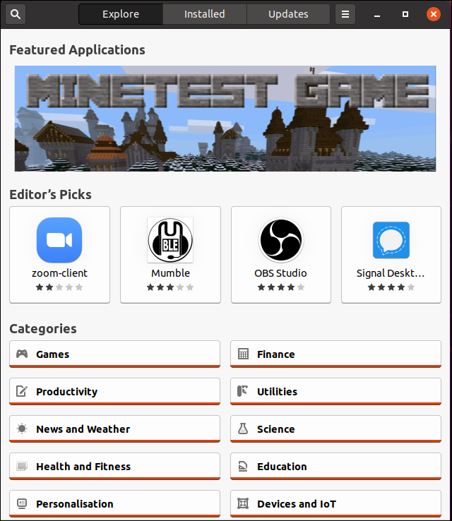 Ubuntu 20.04 snap software application main window